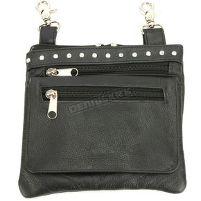 Black Cowskin Leather Clip-On Bag w/Shoulder Strap - 9718.00