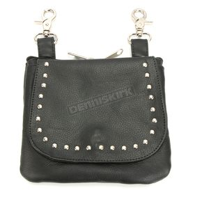 Black Cowskin Leather Studded Clip-On Bag - 9728.00