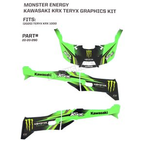 Black/Green/Gray Monster Energy Complete Graphic Kit - 20-20-290