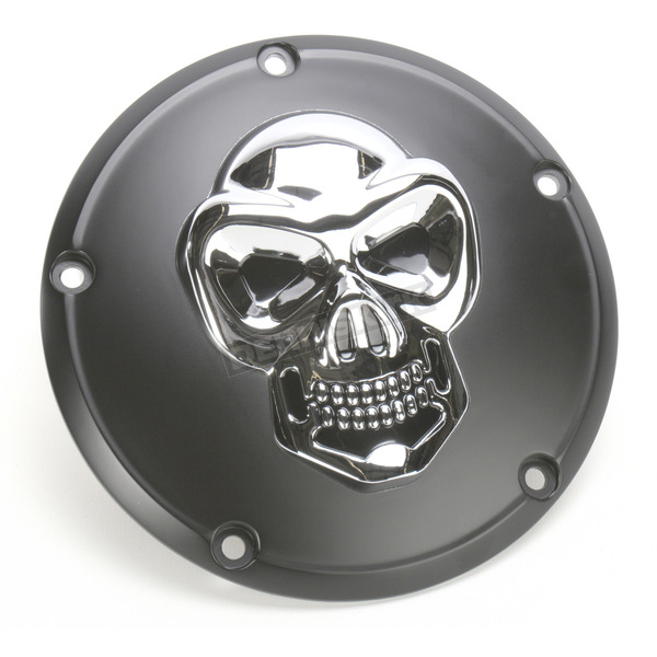Drag Specialties Black Derby Cover with Chrome Skull - 1107-0266