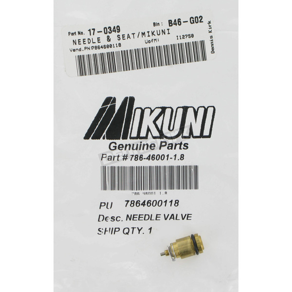 Mikuni 786-46001- Needle and Seat Size 2.0 - 786-46001-2.0