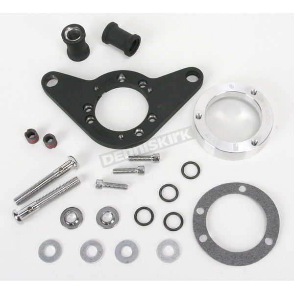 D & M Custom Cycle Wrinkle Black Carb Support Bracket and Breather Kit  - DM-54WR