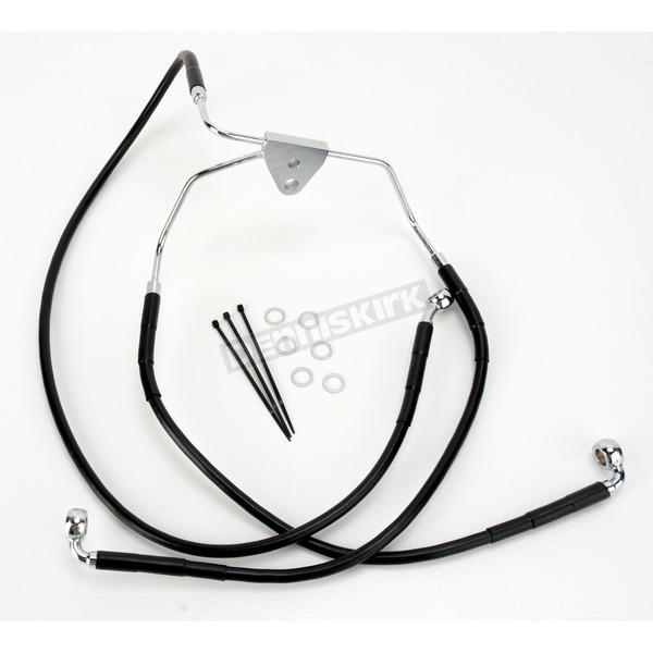 Drag Specialties Front Extended Length Black Vinyl Braided Stainless Steel Brake Line Kit +8 in. - 1741-2512