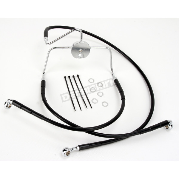 Drag Specialties Front Extended Length Black Vinyl Braided Stainless Steel Brake Line Kit +4 in. - 1741-2522