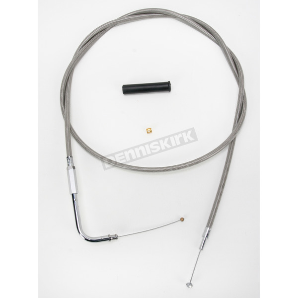 Drag Specialties Alternative Length Stainless Steel Throttle Cable for Custom Height/Width Handlebars - 0650-1077