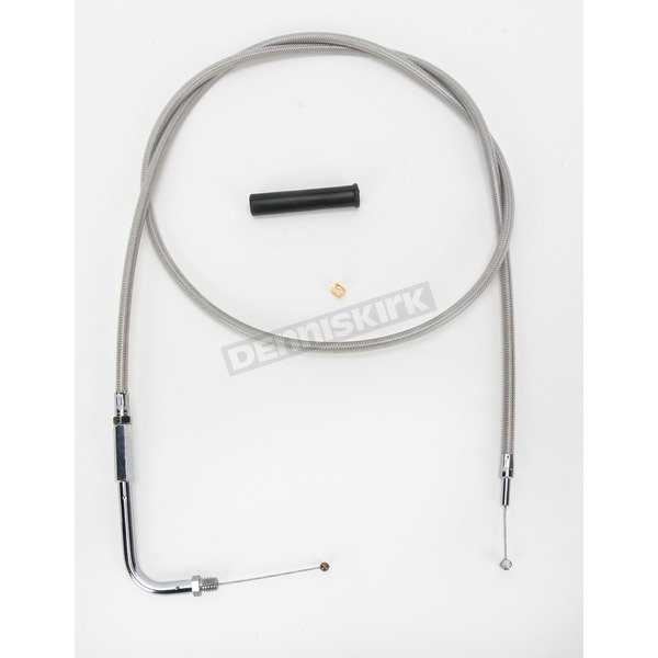 Drag Specialties Alternative Length Stainless Steel Throttle Cable for Custom Height/Width Handlebars - 0650-1091