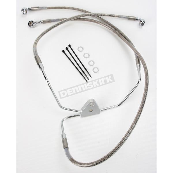 Drag Specialties Front Extended Length Braided Stainless Steel Brake Line Kit +4 in. - 1741-2625