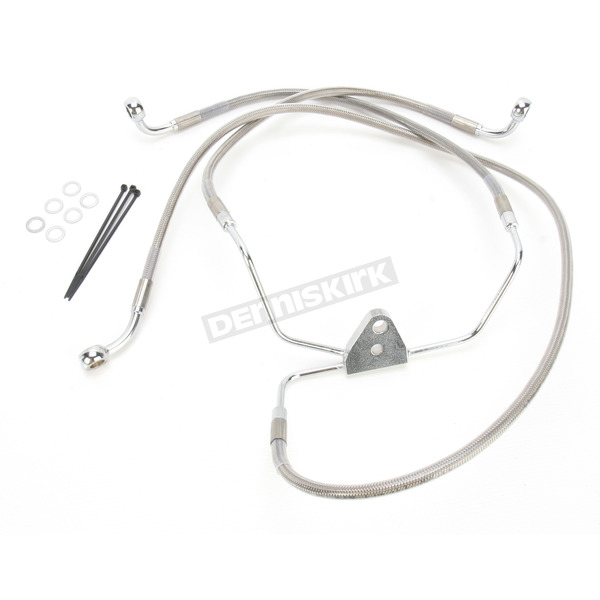 Drag Specialties Front Extended Length Braided Stainless Steel Brake Line Kit +10 in. - 1741-2633