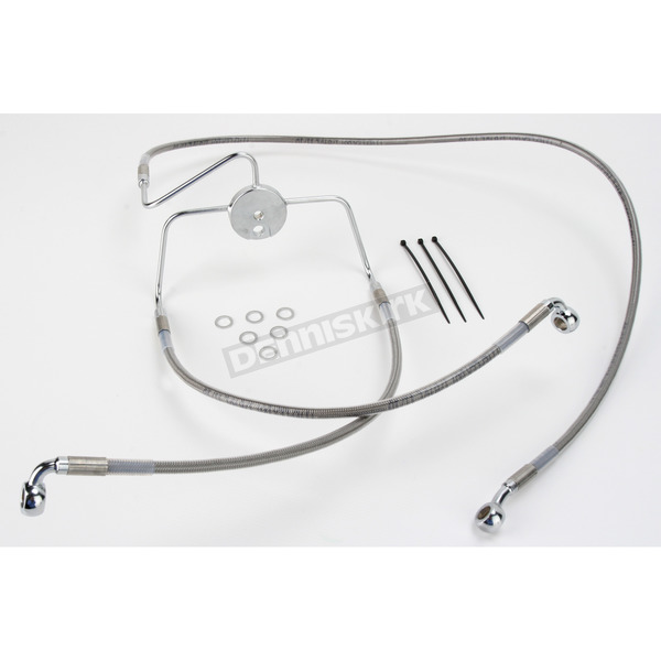 Drag Specialties Front Extended Length Braided Stainless Steel Brake Line Kit +10 in. - 1741-2638