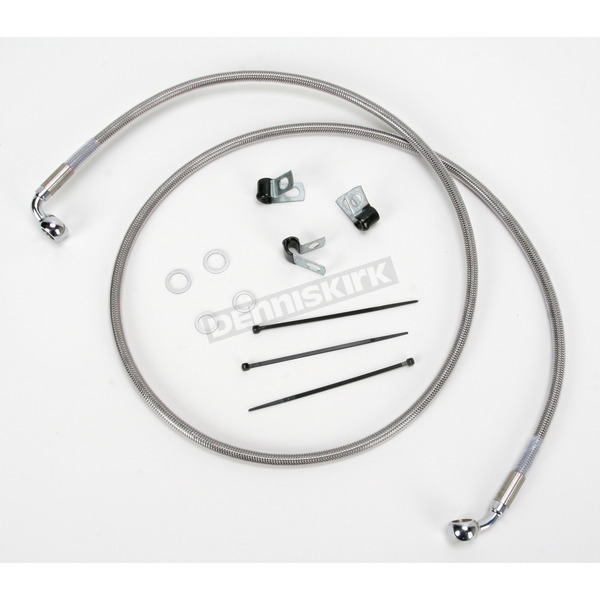 Drag Specialties Front Extended Length Braided Stainless Steel Brake Line Kit +6 in. - 1741-2651