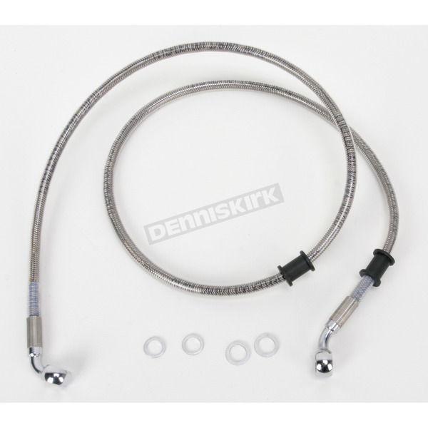 Drag Specialties Front Extended Length Braided Stainless Steel Brake Line Kit +4 in. - 1741-2830