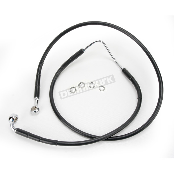 Drag Specialties Front Extended Length Black Vinyl Braided Stainless Steel Brake Line Kit +6 in. - 1741-2861