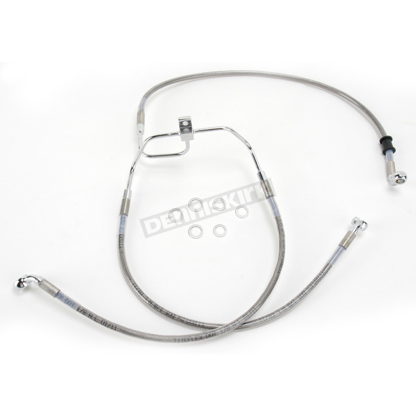 Drag Specialties Front Extended Length Braided Stainless Steel Brake Line Kit +4 in. - 1741-2902