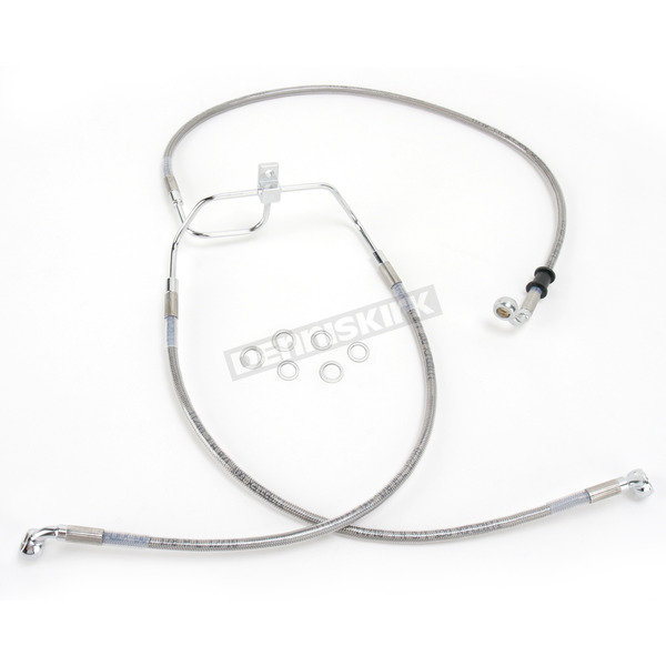 Drag Specialties Front Extended Length Braided Stainless Steel Brake Line Kit +8 in. - 1741-2904