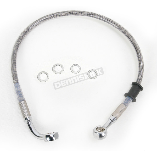 Drag Specialties Rear Standard Length Clear-Coated Braided Stainless Steel Brake Line Kit - 1741-2924