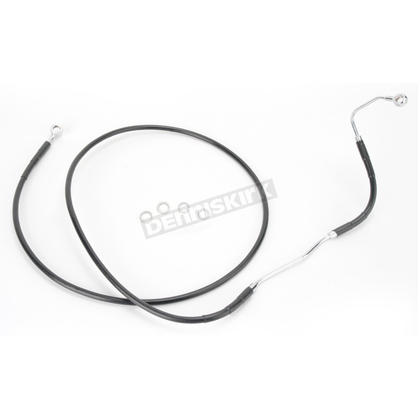 Drag Specialties Front Extended Length Black Vinyl Braided Stainless Steel Brake Line Kit +6 in. - 1741-2935