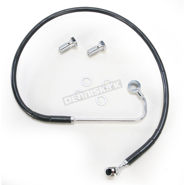 Drag Specialties Front Extended Length ABS Black Vinyl Brake Line Kit +2 in. - 1741-3766