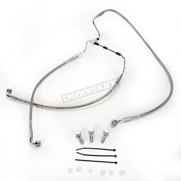 Drag Specialties Front Extended Length Stainless Steel Braided Brake Line Kit +2 in. - 1741-3975