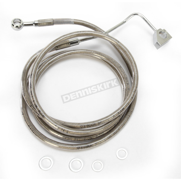Drag Specialties Front ABS Extended Length Stainless Steel Braided Brake Line Kit +8 in. - 1741-3992