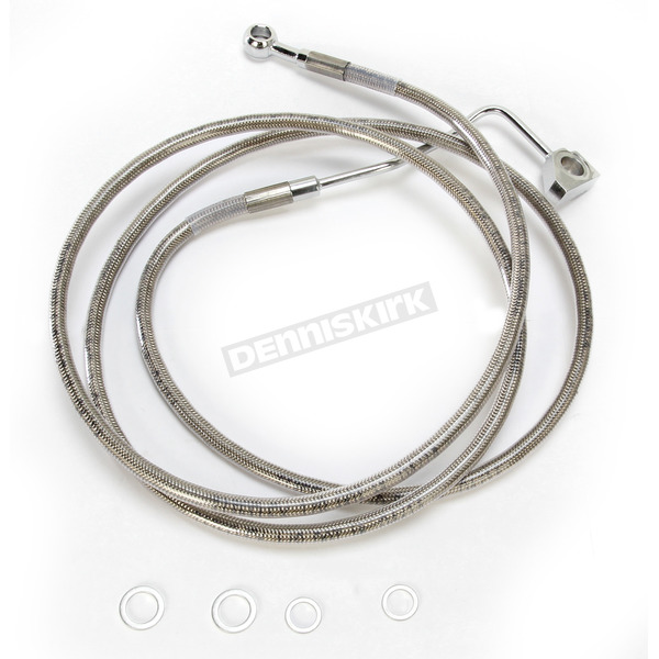 Drag Specialties Front ABS Extended Length Stainless Steel Braided Brake Line Kit +10 in. - 1741-3993