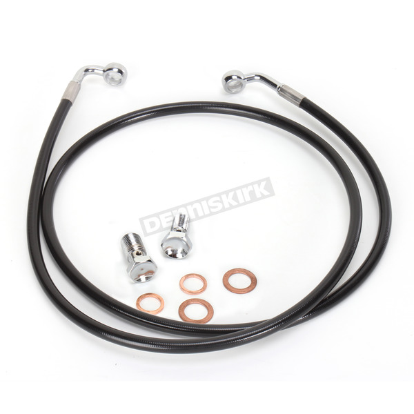 LA Choppers Black Vinyl Coated Stainless Braided Brake Line for Use w/12 in. to 14 in. Ape Hangers(w/o ABS) - LA-8100B13B