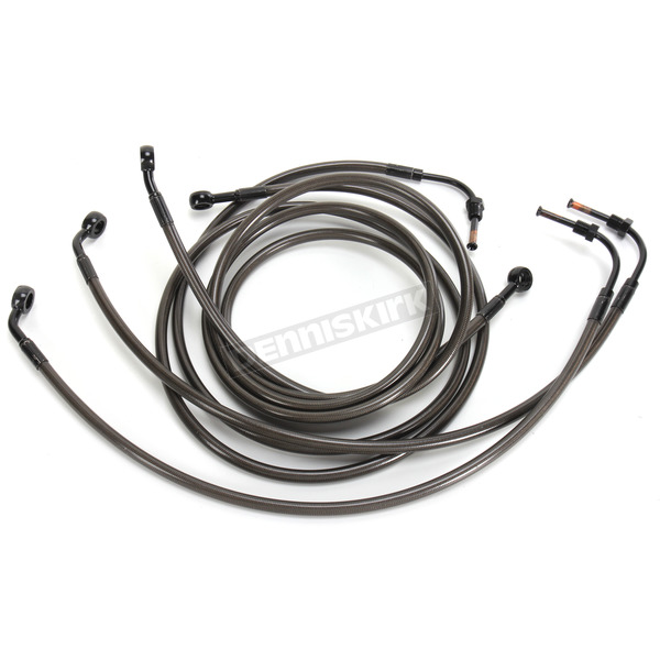 LA Choppers Midnight Stainless Brake Line for Use w/18 in. to 20 in. Ape Hangers w/ABS - LA-8050B19M