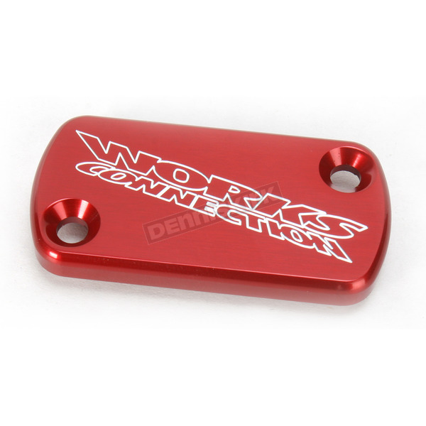 Works Connection Red Anodized Billet Aluminum Front Brake Reservoir Cover - 21-015
