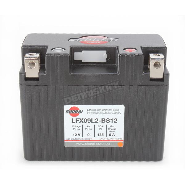 Shorai Xtreme-Rate 12-Volt LifePo4 LFX Lithium Battery - LFX09L2-BS12