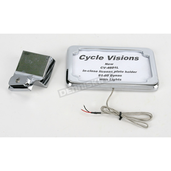 Cycle Visions Chrome Vertical In-Close License Plate Holder w/Plate Light - CV-4601L