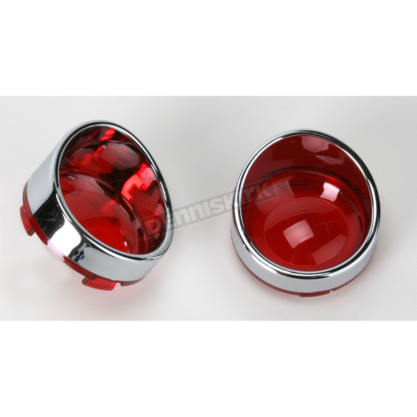 Drag Specialties Visor Style Bezel and Red Lens for Deuce-Style Turn Signals - 2020-0398