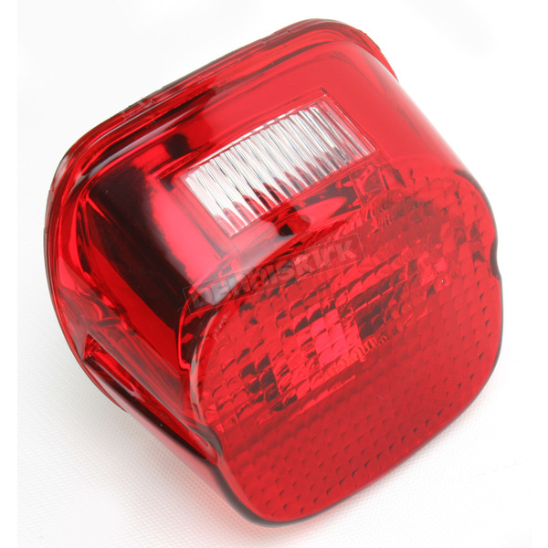 Drag Specialties Red Laydown Taillight Lens w/Top Tag Window - 2010-0782