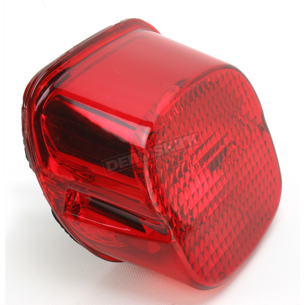 Drag Specialties Red Laydown Taillight Lens w/Bottom Tag Window - 2010-0783