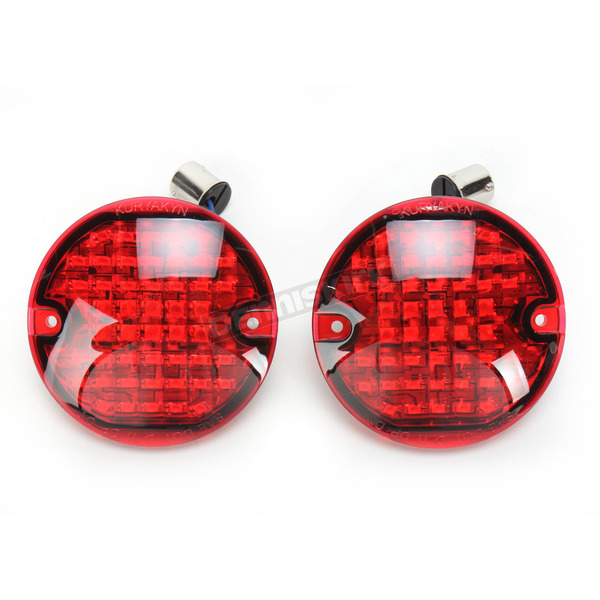 Kuryakyn Chrome Flat Style Panacea Rear Turn Signal Inserts with Red Lens - 5428
