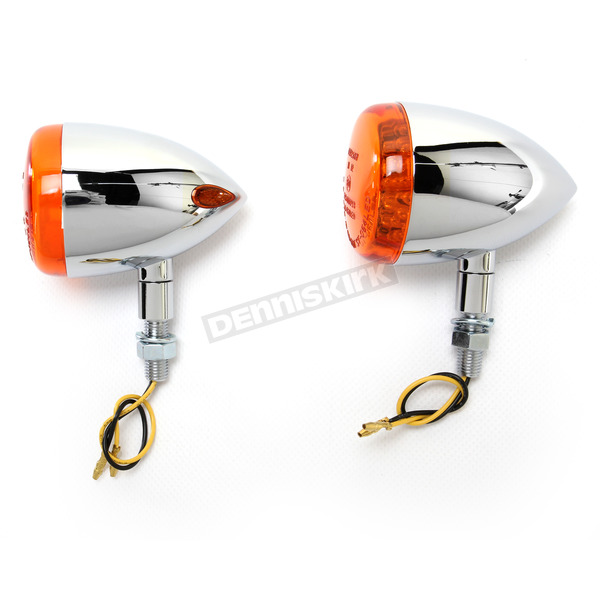 K & S Chrome DOT Approved/E-Marked Aluminum Body Turn Signals w/Amber Lens - 26-5311