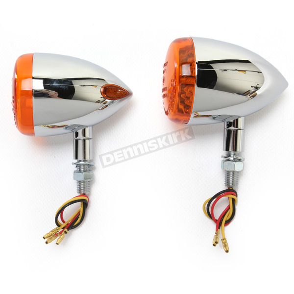 K & S Chrome DOT Approved/E-Marked Aluminum Body Turn Signals w/Amber Lens - 26-5312