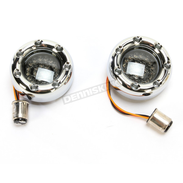 Custom Dynamics Chrome Bullet Ringz w/Amber LED Turn Signals - BTRC-A-1157-S