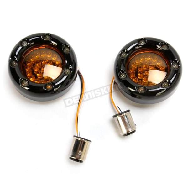 Custom Dynamics Black Bullet Ringz w/Amber/White LED Turn Signals - BTRB-AW-1157-A