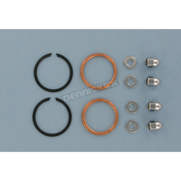 Genuine James Copper Crush Ring Exhaust Port Gaskets and Chrome Acorn Nuts - 65324-83-KCR1