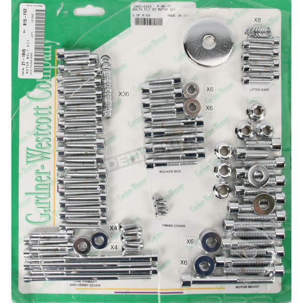 Gardner Westcott Polished Chrome Steel Socket Head Motor Bolt Kit - P-96-77