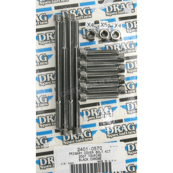 Drag Specialties Black Knurled Primary Cover Bolt Set - 2401-0570