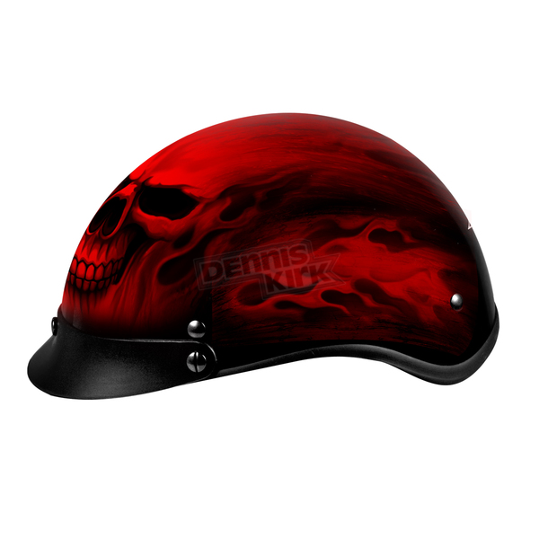 Hot Leathers Flaming Skull Helmet - HLD1018M