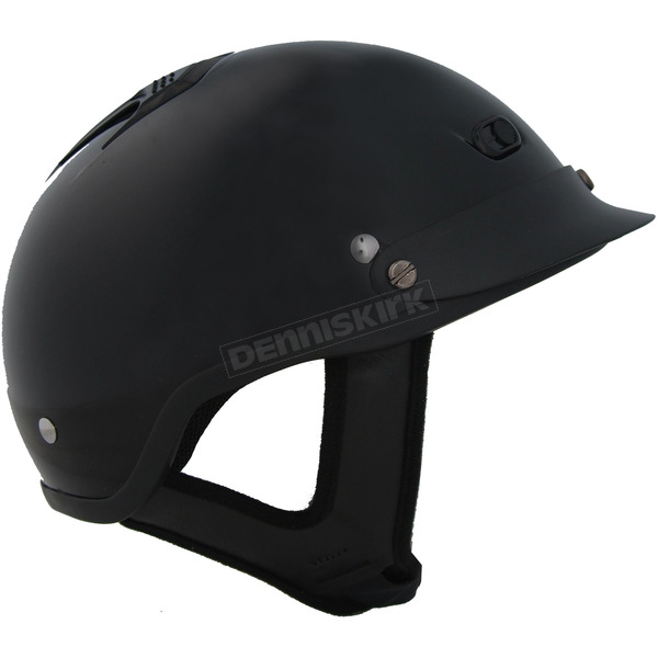 Rodia Vented Shorty Gloss Black Beanie Half Helmet - 200-005