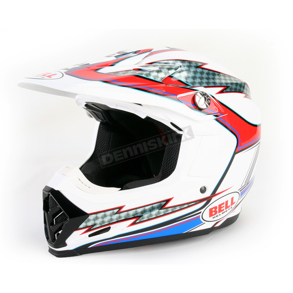 Bell Helmets White/Red/Blue Moto-9 Hurricane Helmet - 2036673