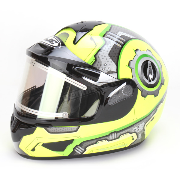 HJC High Viz/Silver CL-16SN Machine Helmet w/Electric Shield - 023-946