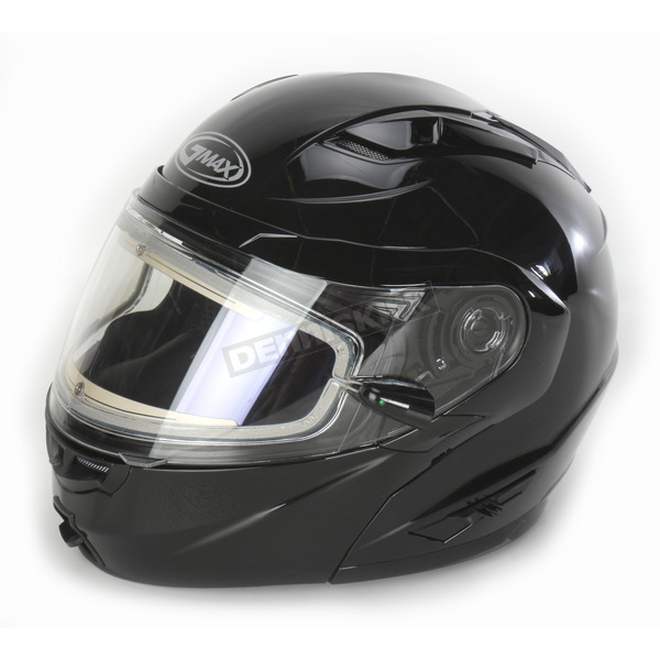 GMax Black GM64S Modular Snowmobile Helmet with Electric Shield - 72-6268X