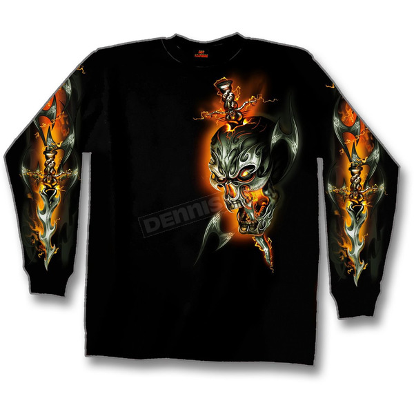 Hot Leathers Electric Skull Long Sleeve T-Shirt - GMS2068M