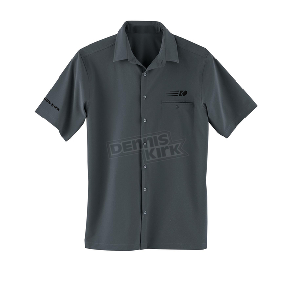 Dennis Kirk Inc. Embroidered Black Shirt - COLLARED