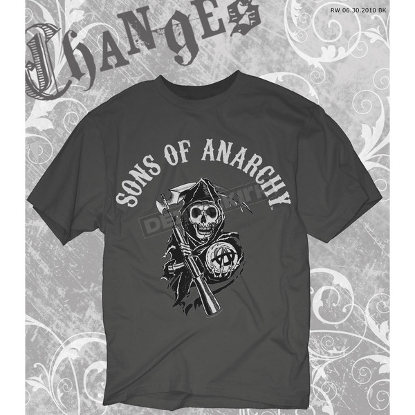 Sons of Anarchy Charcoal SOA Arched with Reaper T-Shirt - 28-605-16CH-XXL