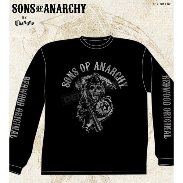 Sons of Anarchy Black Fear The Reaper Long Sleeve Tee - 28-405-38BK-XXL
