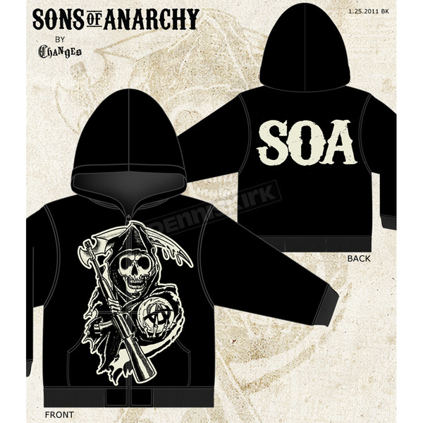 Sons of Anarchy Muted Grim Reaper Zip Hoody - 28-252-62-XXL